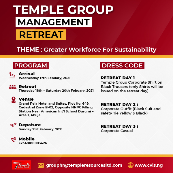 Temple Group Limited Hosts Annual Management Retreat 2021-Aims For Sustainability